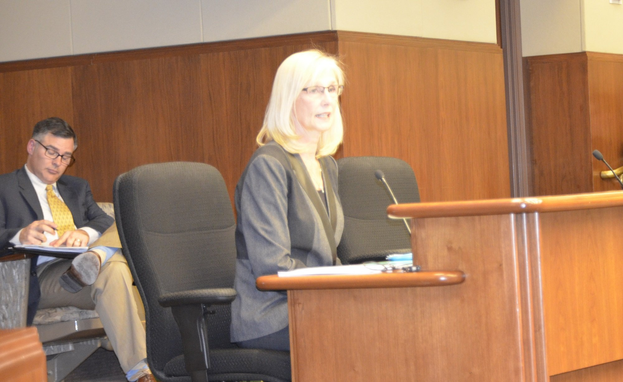 MSBA's Denise Dittrich testified Tuesday, January 20, at a House Education Finance Committee hearing concerning the School Trust Lands.