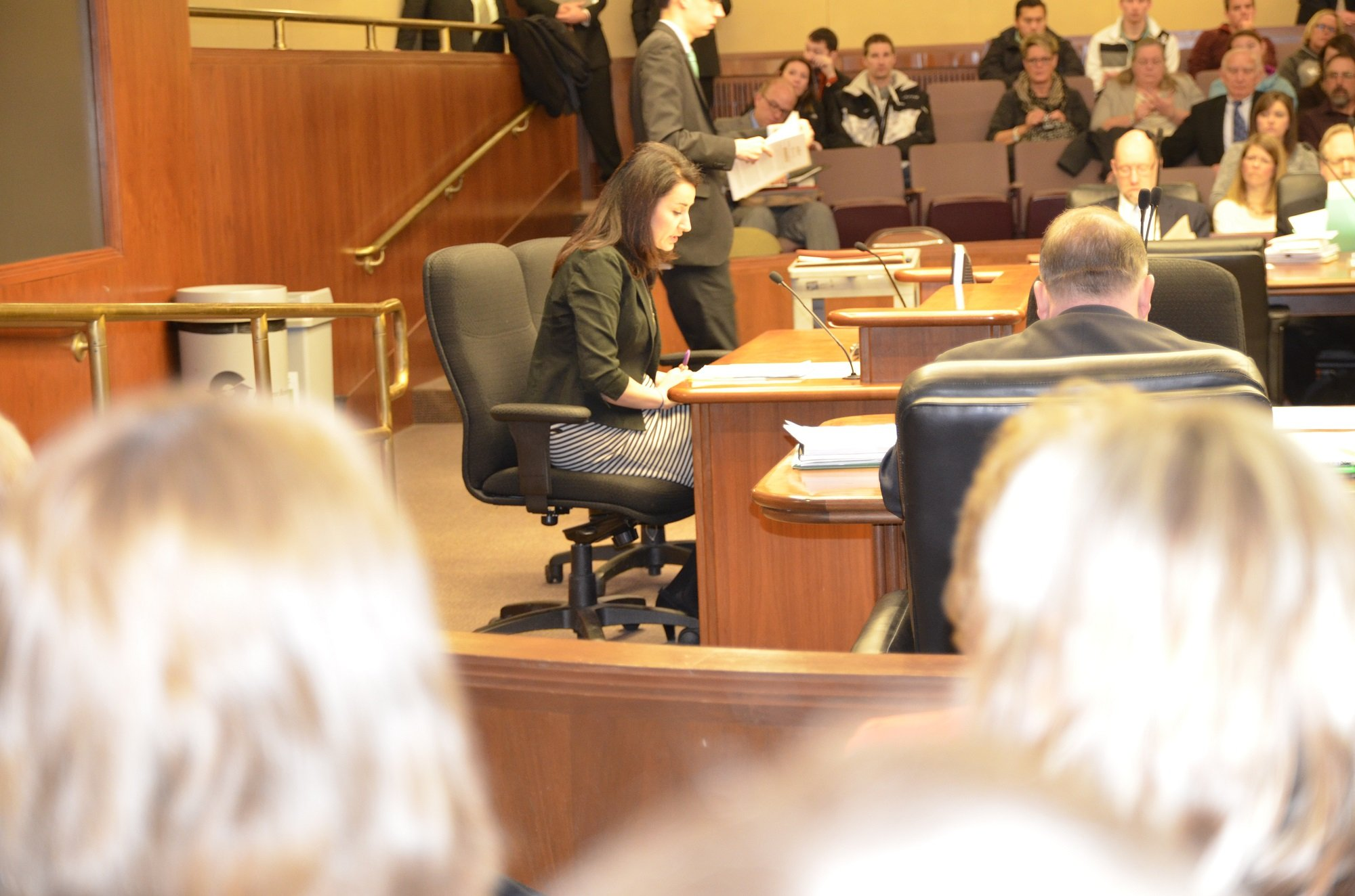 MSBA's Snezhana Bessonov testified in favor of allowing public school boards to choose when they want to start their school calendars Tuesday during a House committee hearing.