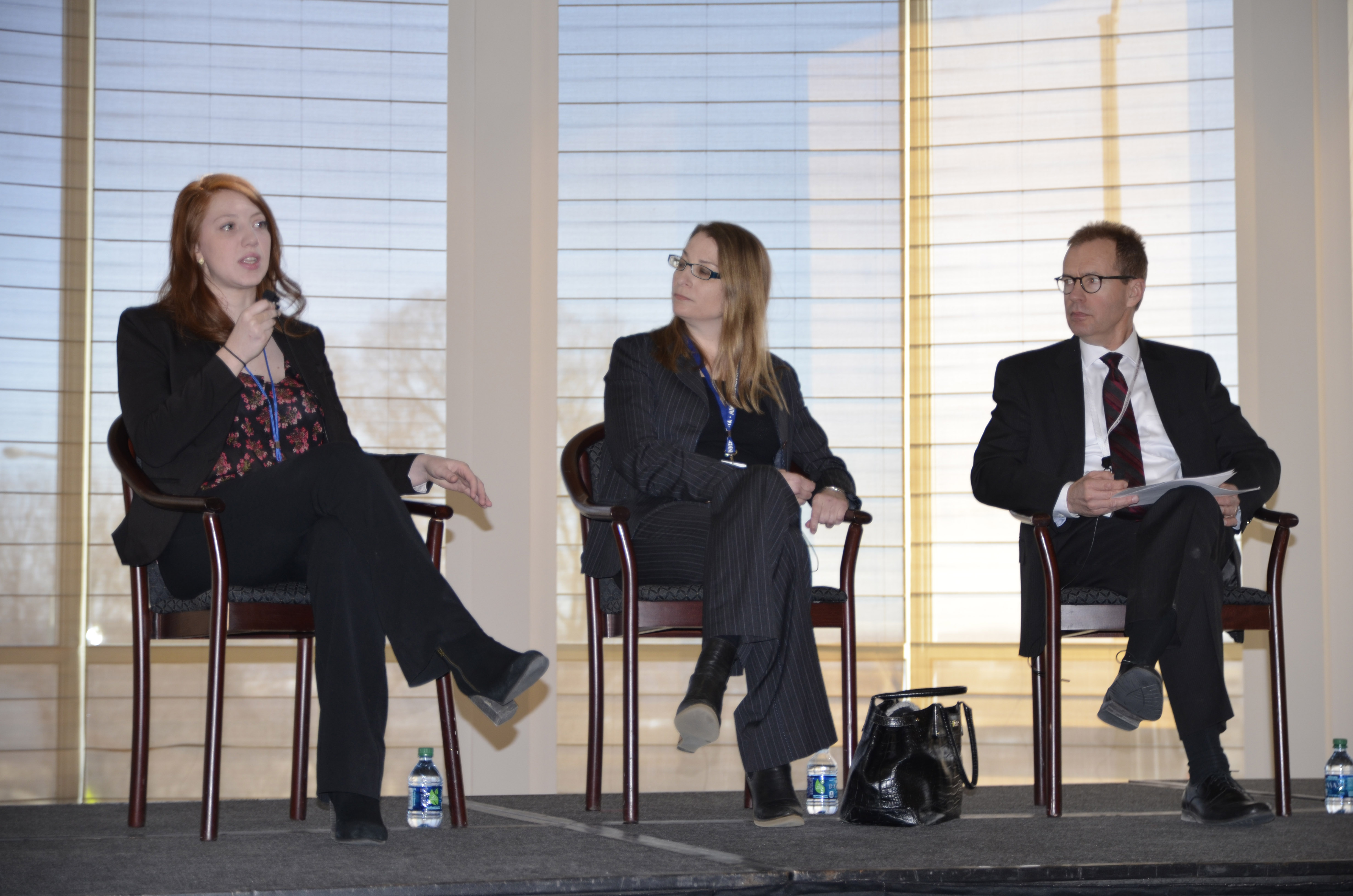 Political reporters Briana Bierschbach (left, MinnPost) and Rachel Stassen-Berger (center, St. Paul Pioneer Press) discussed political issues during a media panel.