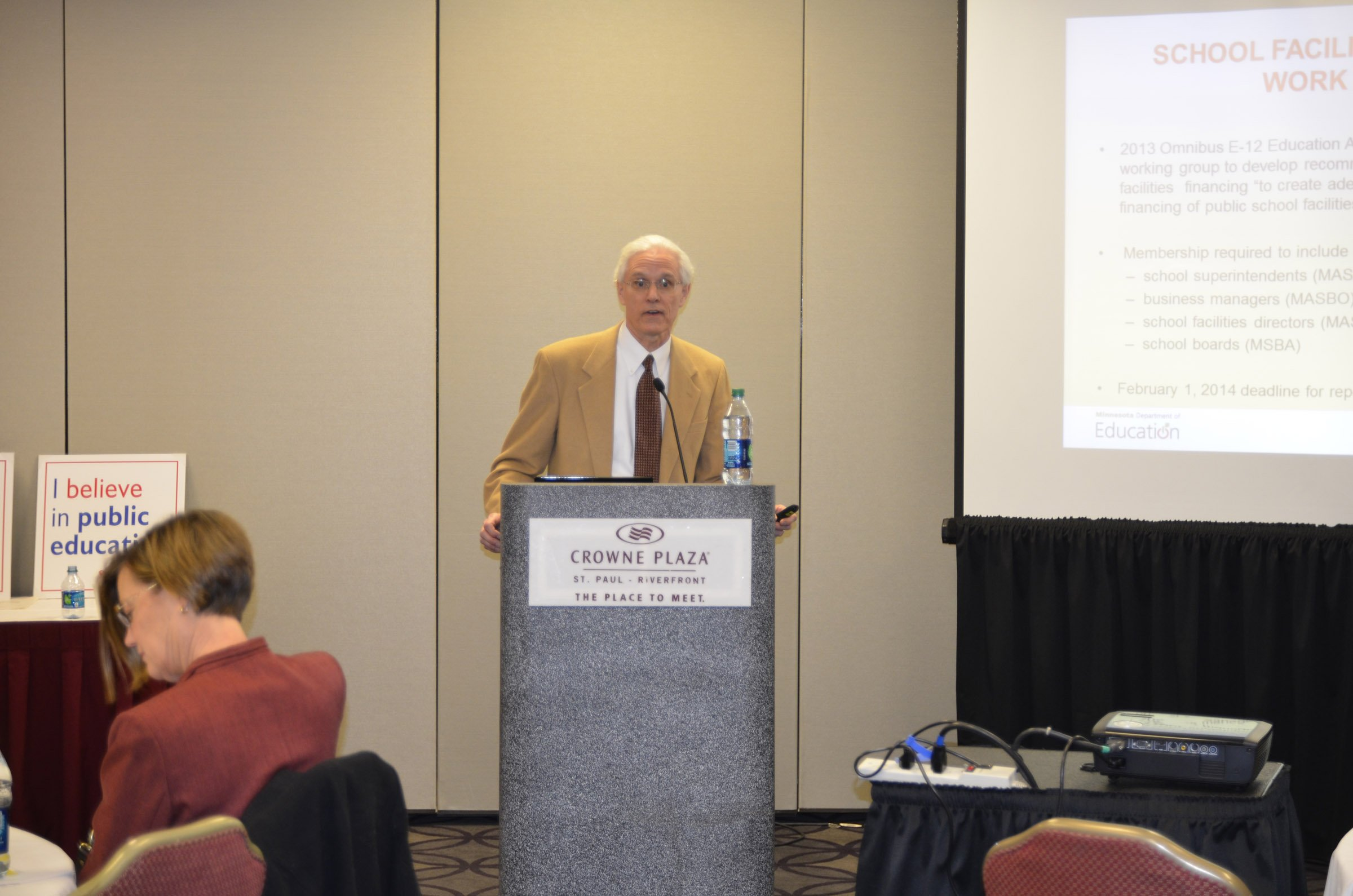"""Tom Melcher (School Finance Director for the Minnesota Department of Education) presented """"School Facilities Financing Working Group: Summary of Report and Recommendations"""" to MSBA members. You can view a copy of his presentation at https://www.mnmsba.org/Portals/0/PDFs/Advocacy/JLC-2015-SchoolFacilities.pdf."""