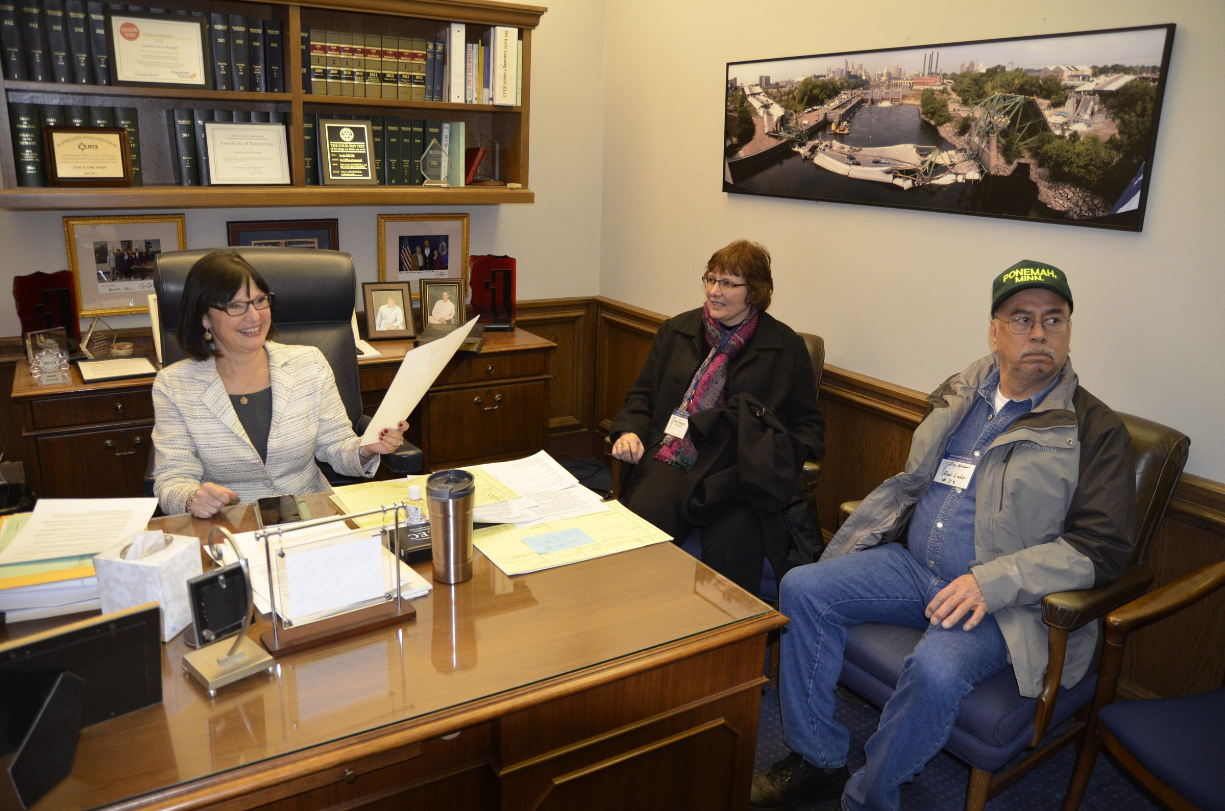 """School board members met with Sen. Terri Bonoff. Bonoff is the author of a bill (SF 97) that would end the """"last in, first out"""" (LIFO) approach to the teacher layoff process."""