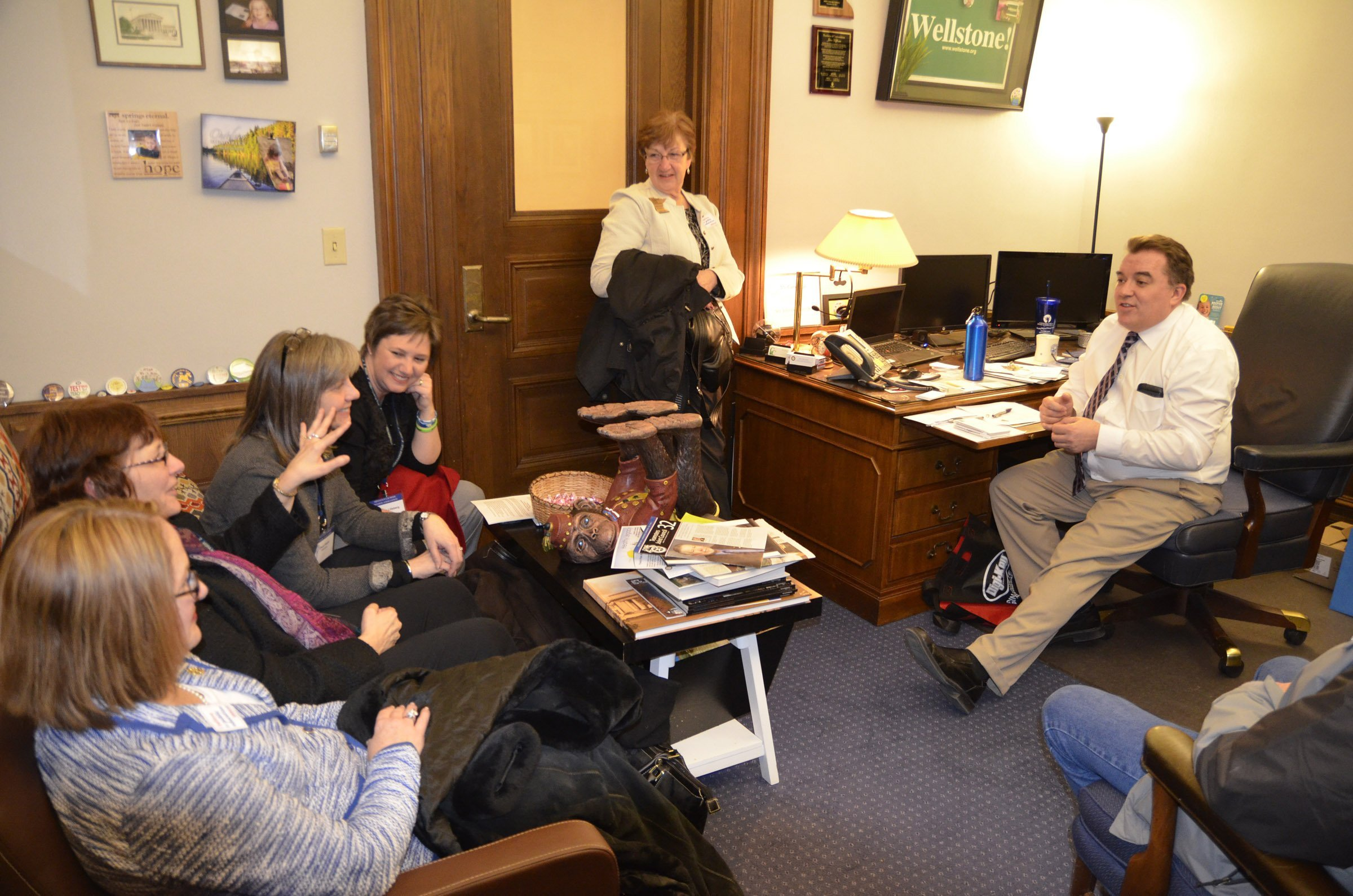 Minnesota school board members met with Sen. John Hoffman. Hoffman, himself a former Anoka-Hennepin School Board member, is the author of a bill (SF 163) that would add an increase of $300 per pupil to the education funding formula in fiscal year 2016.