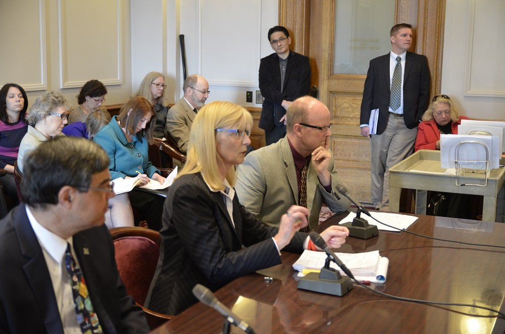 MSBA's Denise Dittrich (center) urged the Senate Education Committee to add a 3 percent increase on the general education funding formula.