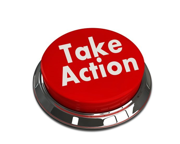 """A red button with the words """"Take action"""" on it"""